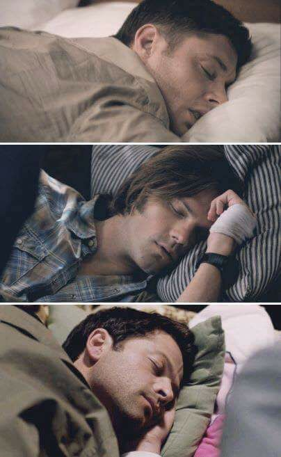 Sleepy Dean , Sam, and Cas. So cuuuute ❤❤❤❤❤❤