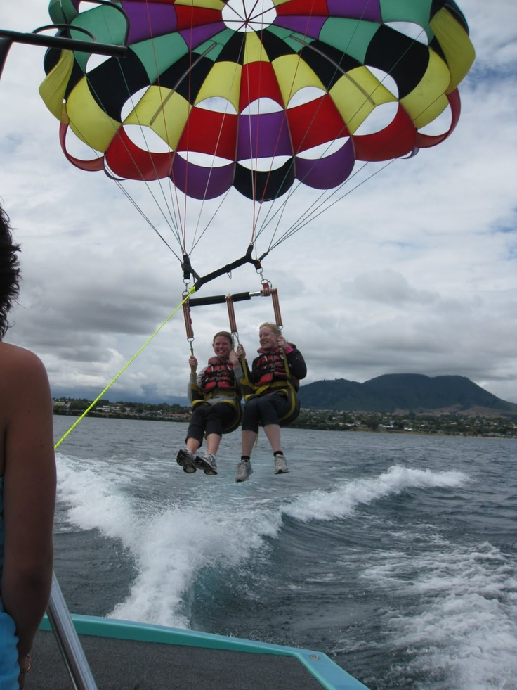 Parasailing over a Lake