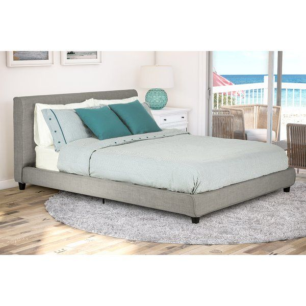 Hunker down for a great night's sleep in this impressive Ammerman upholstered platform bed, exquisitely upholstered in light gray linen across the headboard and base for a contemporary look. The Bentwood slats adapt to weight for just the right amount of support, allowing air to pass freely around your mattress to keep you cool and comfortable all night long. The center rail and extra center metal legs provide additional support and complete the stunning look.