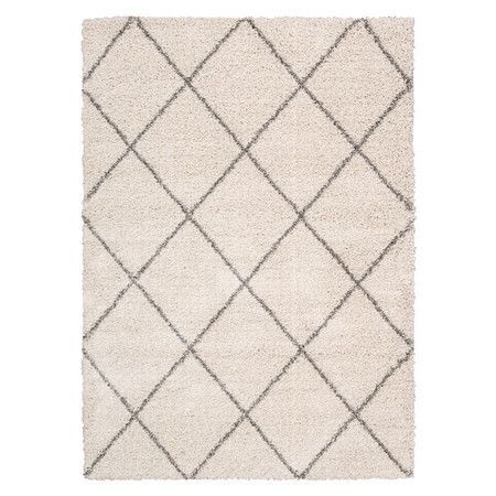 Lend A Touch Of Luxe Appeal To Your Living Room Or Master Suite With This Lovely Shag Rug Showcasing Classic Lattice Motif In Cream