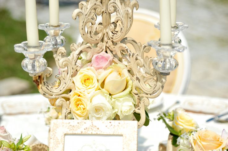 Victorian Glamour Wedding Decor - Gold & Ivory - Elegant, Antique, Vintage, Handpainted, Handmade -Table Setting, Candelabra - by Satori Art & Event Design