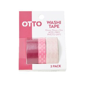 Otto Washi Tape Pink 3 Pack   Officeworks