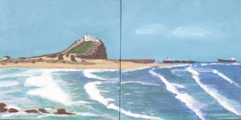 Nobby's beach - Pastels and Acrylic on canvas 2011
