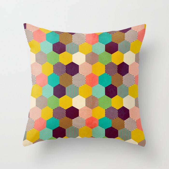 """""""Fun Hexagon"""" Throw Pillow by Louise Machado on Society6."""
