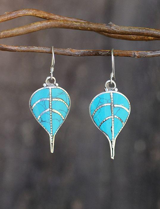Turquoise Bodhi Leaf Earring