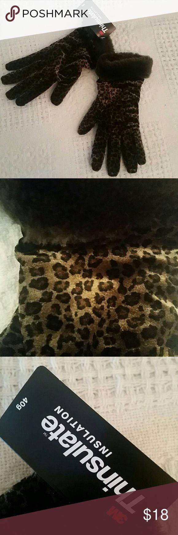 New 3M thinsulate gloves gift stocking stuffers New without tags, 3M thinsulate animal gloves, faux fur trim, one size 3M Accessories Gloves & Mittens