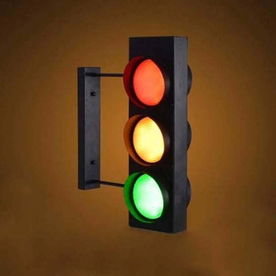 unique traffic light design 6 light industrial style led wall light h in black finish with remote control