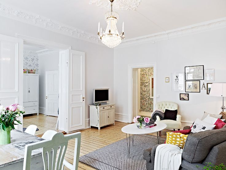 Beautiful Apartment With Scandinavian Aspect Furniture PlacementCountry InteriorsScandinavian HomeSitting RoomsWhite WallsApartment IdeasLiving