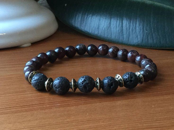 Bracelet pour homme grenat, pierres semi précieuses ,cadeau hommes, lapis-lazuli,litho, méditation, mala
