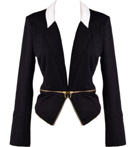 Rags to Riches Blazer: Features a contrast white illusion collar, long sleeves capped with work-appropriate shoulder pads, horizontal gold zippers to the front, and an asymmetrical hem to finish.