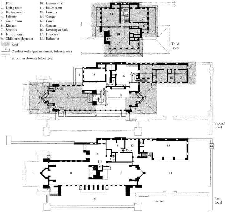 Frank lloyd wright plan of the robie house chicago Frank lloyd wright house floor plans