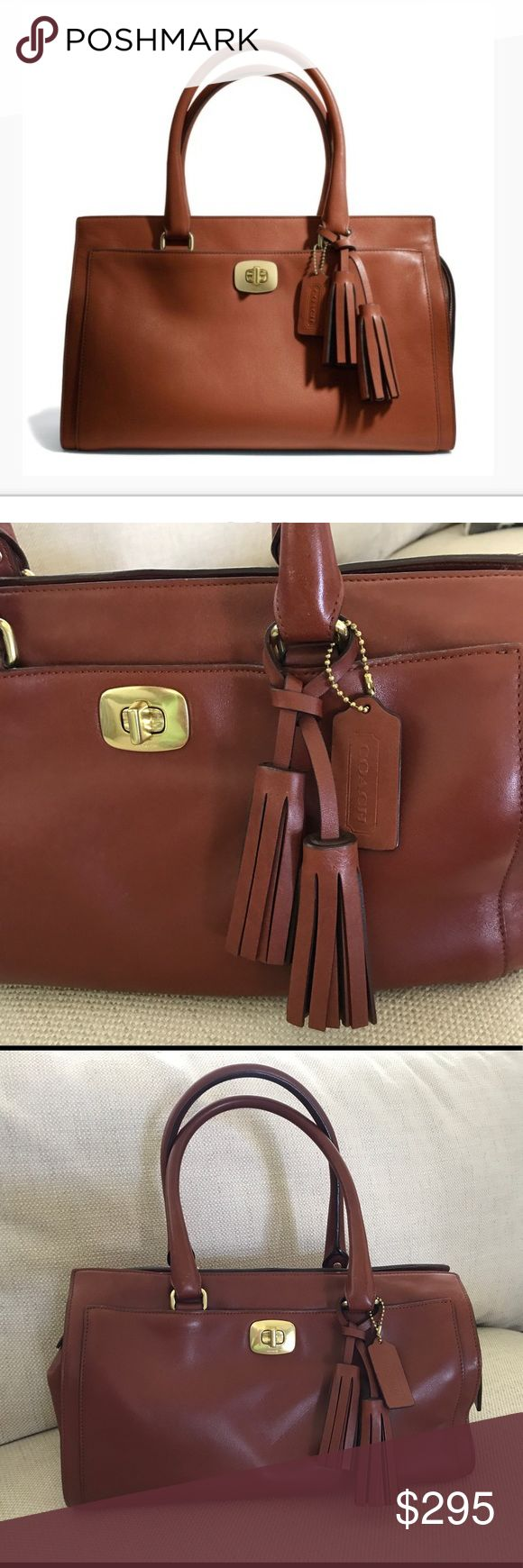 Coach Leather Handbag Authentic Coach Legacy satchel in cognac brown. Gold tone hardware. Bag is in excellent condition with very tiny pen mark inside that's really hard to see. Only used a couple of times as I only use most of bags for outings. Not eligible for bundle discount! Coach Bags Satchels