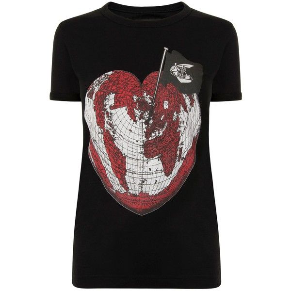 VIVIENNE WESTWOOD ANGLOMANIA Heart World T Shirt (140 CAD) ❤ liked on Polyvore featuring tops, t-shirts, crew top, short sleeve crew neck tee, heart tee, crewneck t shirt and short sleeve tee