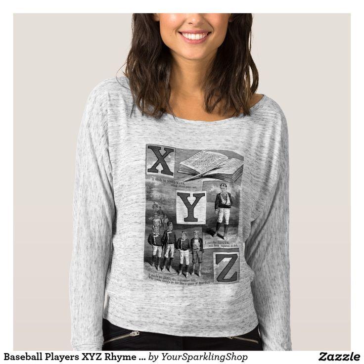 #Baseball Players XYZ Rhyme #Vintage Typography #Shirt