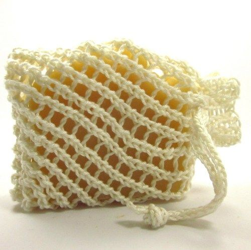Knitted Soap Holder Pattern : White Cotton Soap Holder Drawstring Pouch Hand Knit Cozy for Shower Eweniqu...