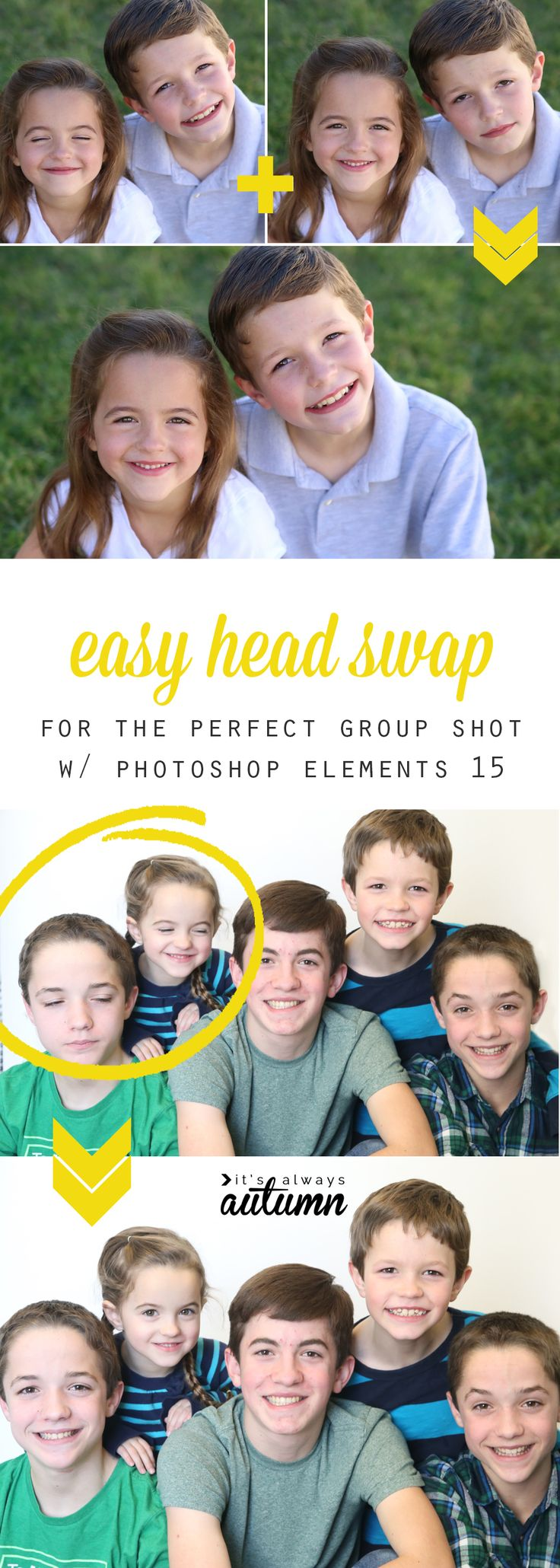 This is awesome! How to swap heads so you can get a great group photo. Perfect for when people close their eyes or kids aren't all looking at the camera at the same time. And it only takes 30 seconds! Easy photo editing. #sp