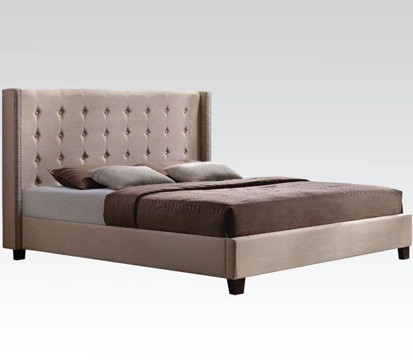 Faye Beige Microfiber Modern Queen Bed #modernbed