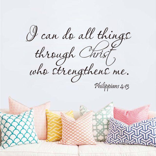 Filippenzen 4:13 Ik Kan Doen Alle Ding Christus Bijbel quote thuis decal muursticker familie gelukkig zegenen adesivo de parede wallposter