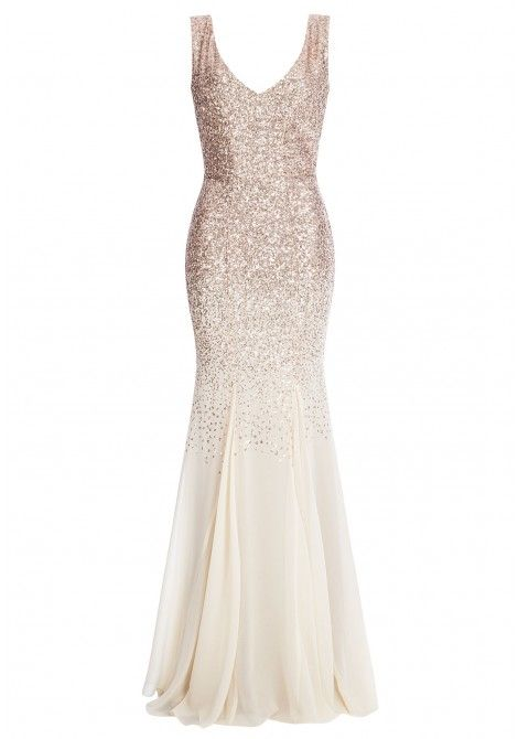 Goddiva Sequin and Chiffon Fishtail Maxi Dress in Champagne