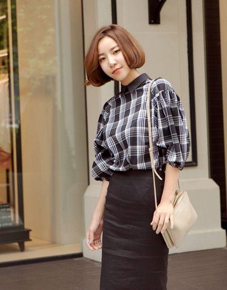 【Bagazimuri】チェック柄バルーンスリーブ襟付きブラウス。きちんと感満載の品のある襟付きトップス★後ボタン付きで着替えもラクラクです。