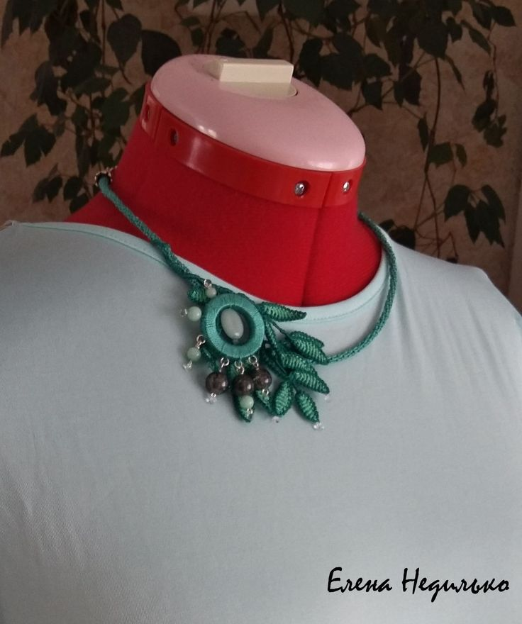 Woodland necklace made by Elena with our small green nephrite beads