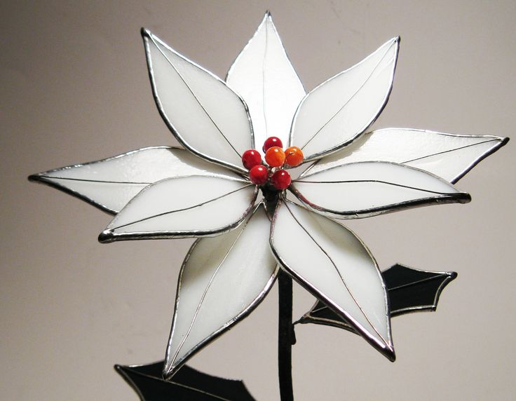 Poinsettia in white Stained Glass - Cyber Monday Special -15% OFF. $75.00, via Etsy.