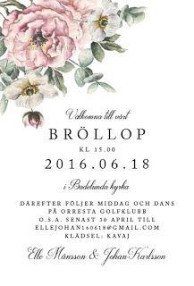 Inbjudningskort bröllop Pappersboden Anna Göran Design