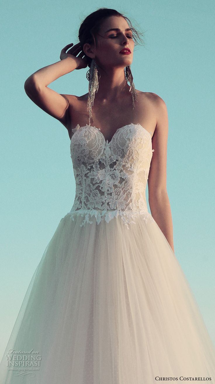 christos costarellos fall 2017 bridal strapless sweetheart neckline bustier heavily embellished bodice tulle skirt princess sexy a  line wedding dress (34) zv