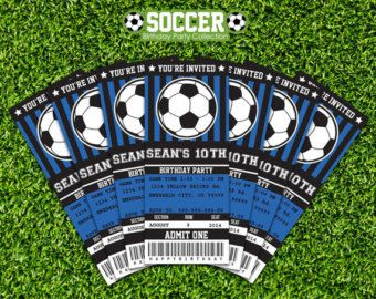 Soccer Birthday Ticket Invitation Party Printable as a PDF file for you to print at home, or at a local print shop. Buy once, and print as many times as you need. This is an editable PDF file that you can personalize and edit at home with Adobe Reader - Simply type over our sample text in the highlighted fields. Print your file at home as many times as you like.  DESCRIPTION - Instant Digital Download : 1 PDF file with 4 tickets per 8.5x11 page  INSTANT DOWNLOAD All of our items are digital…