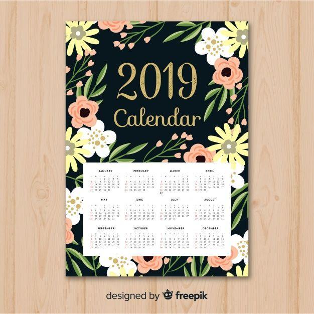 elegant floral 2019 calendar with flat design kostenlose. Black Bedroom Furniture Sets. Home Design Ideas