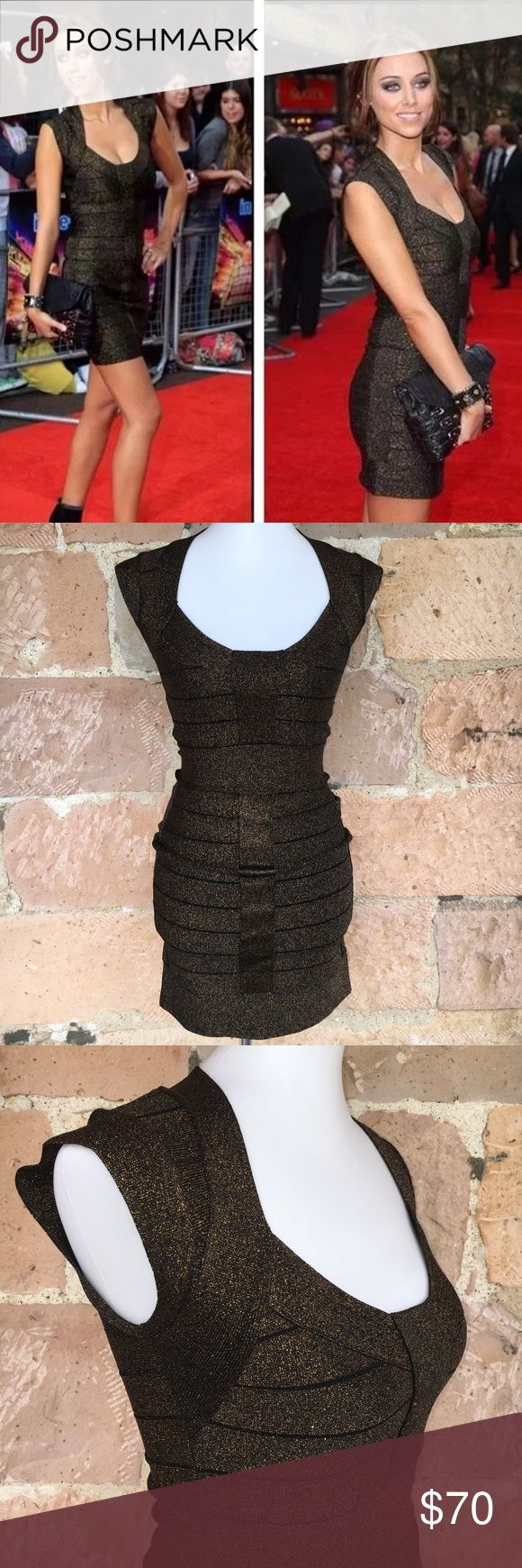 French connection body con bandage dress metallic Women's size 4 black and metallic gold bandage dress. Made extremely well. As seen on the red carpet. Never worn French Connection Dresses Mini