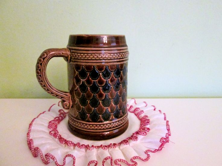 Vintage West Germany Marzi Remy Cobalt Blue With Brown Ceramic Beer Stein by Grandchildattic on Etsy