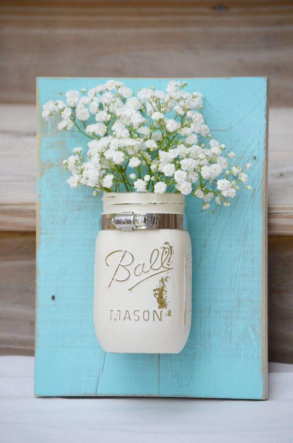 Shabby Chic Wall Organizer Reclaimed Wood Mason Jar Wall Decor Cream Blue Wall Sconce Coastal Cottage Wall Planter Bathroom Storage