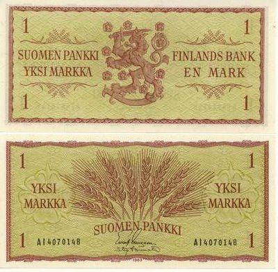 finland currency | Finlândia - 1 Markka 1963 - Pick 98
