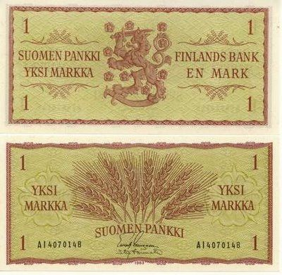 Finnish currency from 1963. Design by Tapio Wirkkala. 1 Markka.
