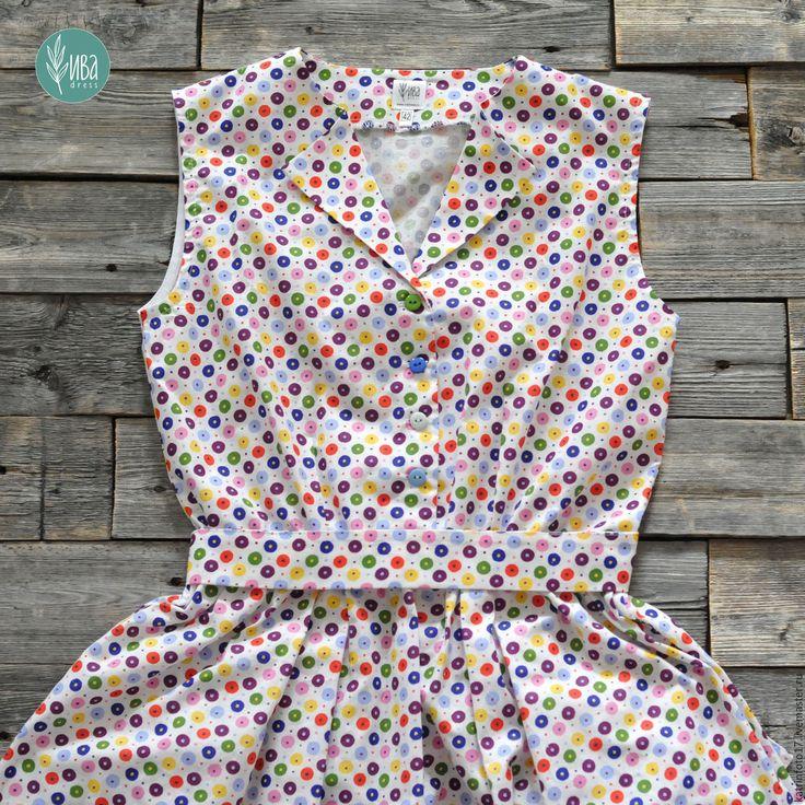 """Купить Платье """"Леденцы"""" - белый, в горошек, летнее платье, яркое платье, винтажное платье"""