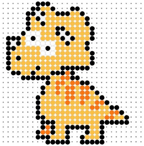 Cute Orange Tricerotops Perler Bead Pattern