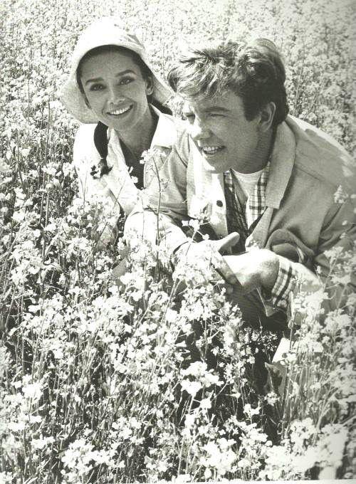 Audrey Hepburn and Albert Finney on the set of Two for the Road