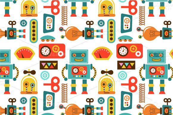 Set of 6 vintage robots + pattern