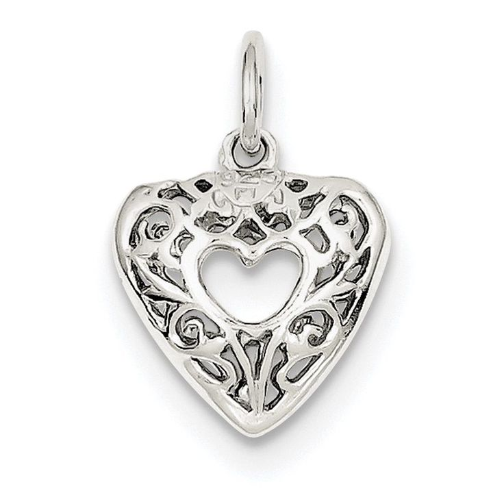 Sterling Silver Filigree Heart Charm by Versil with Chain