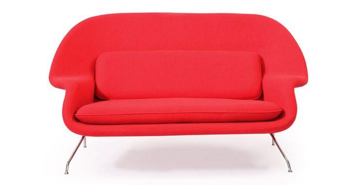 Kardiel Womb Mid-Century Modern Loveseat Sofa, Cherry Red Danish Cashmere Wool