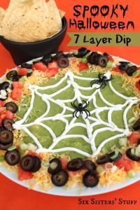 Spooky Halloween 7 Layer Dip Recipe on MyRecipeMagic.com #dip #7layer #spooky #halloween