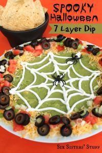 Spooky Halloween 7 Layer Dip Recipe on MyRecipeMagic.com #dip #7layer #spooky #halloween