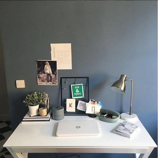 Matt White Trestle Desk in Dark Home Office