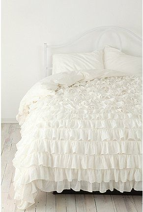 Waterfall Ruffle Duvet - Urban Outfitters   Twin size (available in Queen too) $128.00