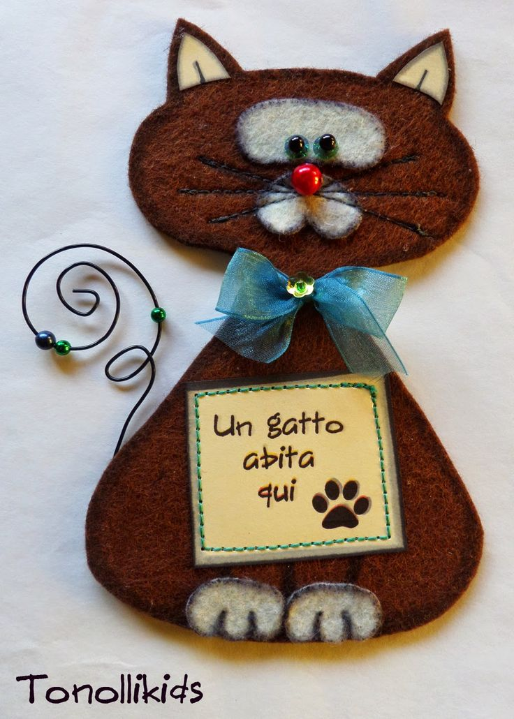 tonolli decorations for kids: Gatto in feltro