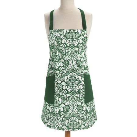 Damask Dark Green Apron