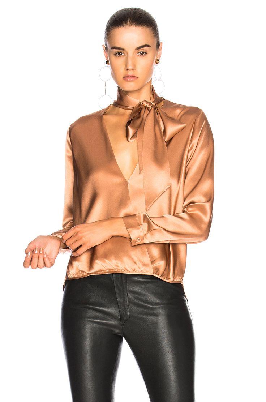 Michelle Mason for FWRD Wrap Blouse in Terracotta | FWRD