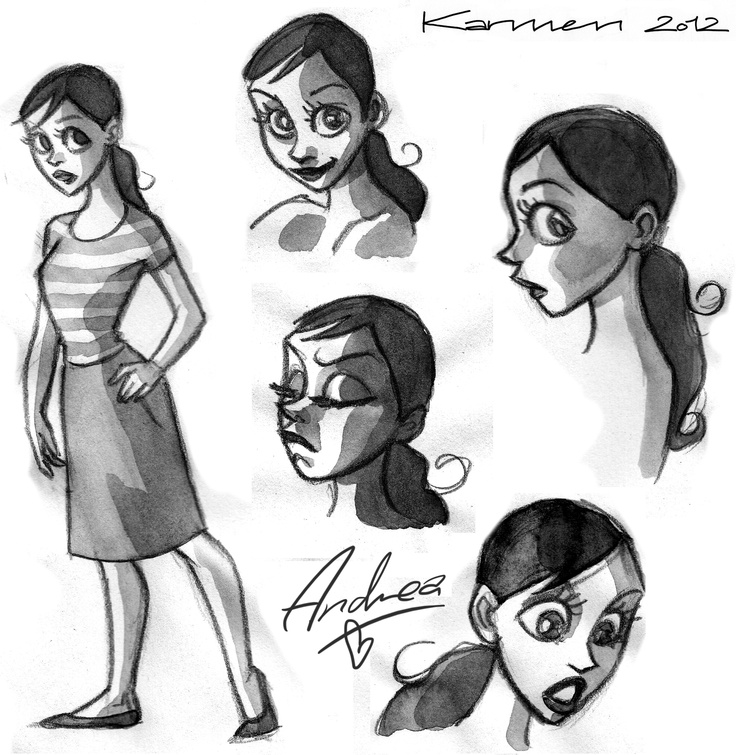 Sketches for Andrea (pencil and ink)