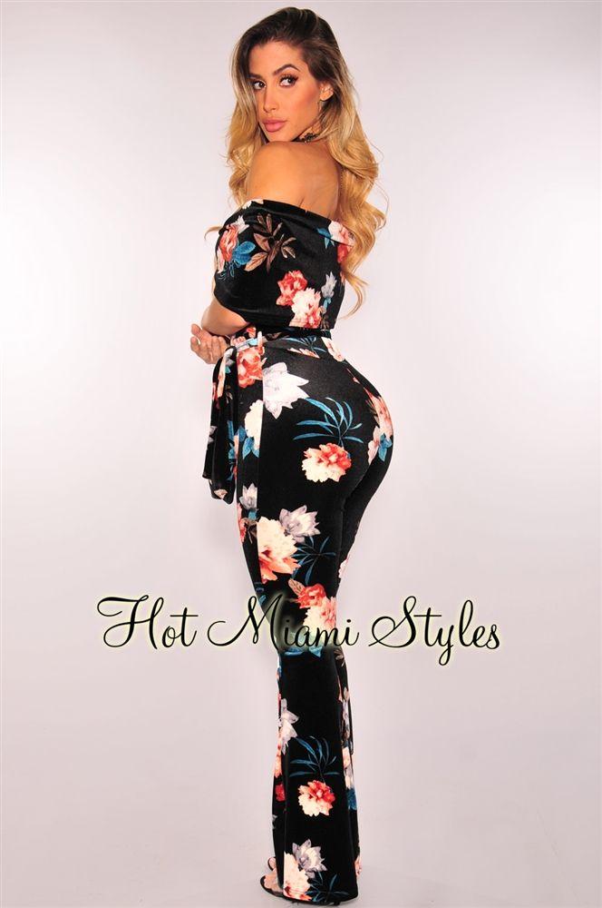 2eeed356b86 Black Velvet Floral Off Shoulder Belted Jumpsuit in 2019